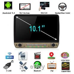 10.1in Android 9.1 Single DIN Car Radio Stereo GPS Head Unit SAT NAV WiFi 1G 16G