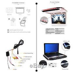 12.1 HD Car Roof Mounted Overhead Monitor MP4 MP5 Player USB SD HDMI TF FM 12V