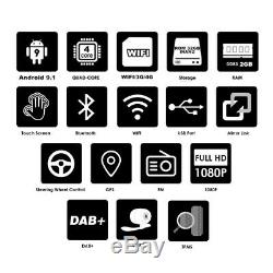 1Din Android 9.1 9 2+32G Touch Screen Car Quad-core Stereo Radio GPS Wifi 3G 4G
