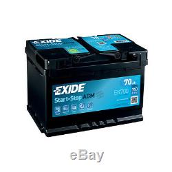1x Exide Stop Start 70Ah 760CCA 12v 067 AGM Car Battery 4 Year Warranty EK700