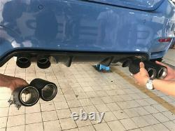 2 X Glossy Grilled Blue Real Carbon Fiber 70mm Car Exhaust Pipe Modified Muffler