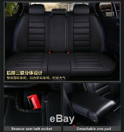 5D PU Leather Black Luxury car-styling 5 Seat Seat Covers Full Surrounded Design