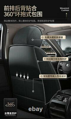 5-Seats Deluxe Edition Car Seat Cushions Black PU Leather Seat Covers Full Set