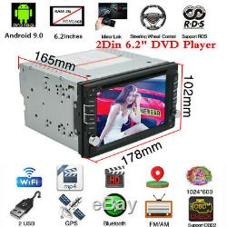 6.2Inch Android 9.0 2Din Car Stereo Sat Nav GPS Bluetooth WiFi DVD Player 2+16G