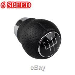 6 Speed Universal Car Manual Gear Shift Knob Shifter Stick Lever Black Leather