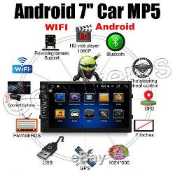 7'' Android WiFi Double Din Car Radio Stereo GPS Navi Multimedia Player +Camera
