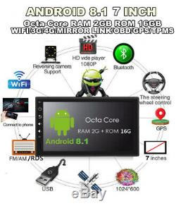 7 Touch Screen HD 1Din Android 8.1 Octa-Core 2G+16GB Car GPS DAB OBD RDS 3G 4G