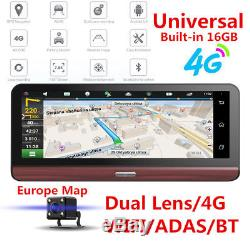 8 Folding 4G WiFi Car Dash Kit DVR Dual Camera GPS Navigation Android Free Map