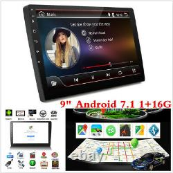 9inch Android 7.1 Double DIN Car Stereo Player GPS Sat Nav OBD WiFi Radio 1G+16G