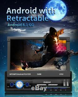 Android8.1 1Din 7 Retractable HD Touch Screen BT Car GPS Navigator MP5 Player