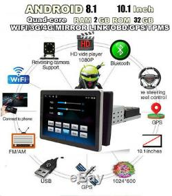 Android 8.1 10.1In 1Din Rotatable Screen Car Stereo Radio GPS Wifi 3G 4G BT DAB