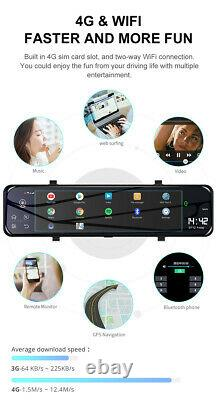 Android 8.1 12in 4G Wifi GPS Dash Cam Car DVR Front Rear Camera Video Recorder
