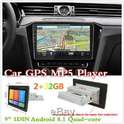Android 8.1 9 1Din Adjustable Screen GPS Navigator Car Stereo Radio MP5 Player