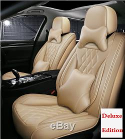 Beige Leather 5D Full Surrounded 5-Seats Car Front+Rear Cover Cushion Protectors