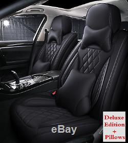 Black Deluxe Edition Car Seat Cover 5-seats Cushion PU Leather For 4-Door Sedan
