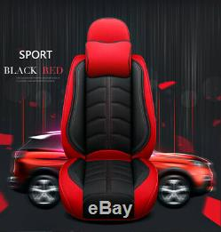 Black/Red Car Seat Covers PU Leather Universal Pet Protector Full Set Front Rear