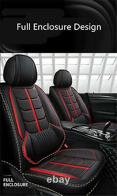 Black/Red PU Leather 5-Seats Car Seat Cover Cushion For Interior Accessories