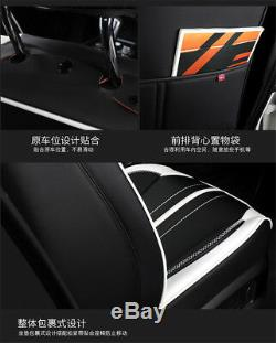 Black&White Sport Style PU Leather Car Seat Cover Cushion Front+Back Row Pad Set
