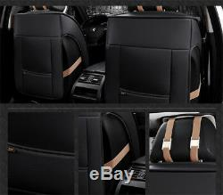 Breathable Black PU Leather 3D Surround 5-Seat Car Seat Cover Protector Cushions