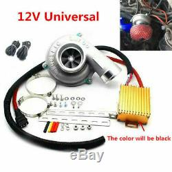 Car Electric Turbocharger Supercharger Kit Thrust Fuel Saver Air Filter Intake &