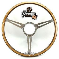 Classic Car 16 Semi Dished Riveted Light Wood Steering Wheel & Fitting Ring Kit