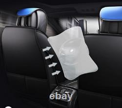 Deluxe Black+Blue Leather 5D Full Surround Car Seat Cover Cushion For 5-Seat Car