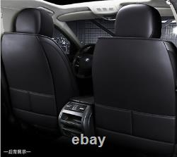 Deluxe Edition All Black PU Leather Car Seat Cover Cushion Interior Accessories