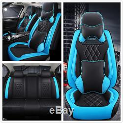 Deluxe Edition Black/Blue Leather Car Full Set Seat Cover Cushions Accessories