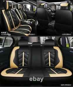 Deluxe Leather Black Beige Full Set Car Front/Rear Seat Cover Protector Cushion