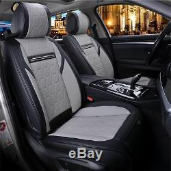 Full Set Black & Grey Car Seat Covers Pu Leather Universal Dog Pet Protector