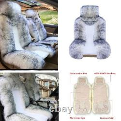 Hot! White&Grey 2 Front Car Seat Cover Plush WARM WINTER Universal 13863 cm