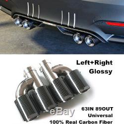 L+R Carbon Fiber Stainless Car SUV Dual Pipe Exhaust Pipe Tail Muffler Tip