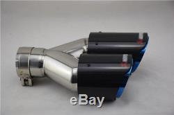 Left+Right 63-89mm Real Carbon Fiber Chrome Blue Car Exhaust Dual Pipes End Tips