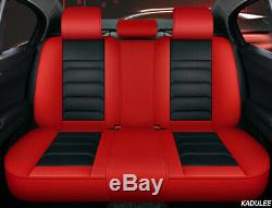Luxury PU Leather Mat Four Seasons Full Car Seat Cover Cushion Pad Set Red/Black
