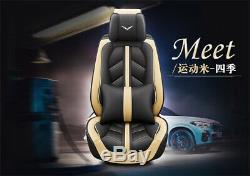 Luxury Sport Beige PU Full Set Car Seat Cover withSeparate Headrests Waist Pillows