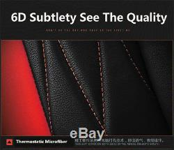 New 5 Seat Car SUV Cushion Black Red 6D Microfiber Leather Seat Covers