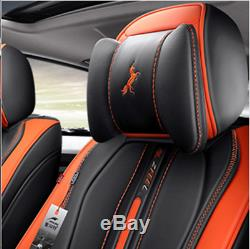 Orange Car 5-Sits Cover Cushion 6D Surround Breathable Luxury Microfiber Leather