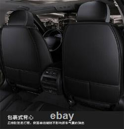 PU Leather Black 6D Full Surround Front Rear Seat Cover Cushions For 5 Seat Car