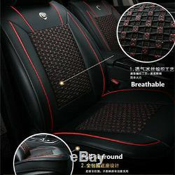 PU Leather Ice Silk 5-Seat Car Front Rear Seat Cover Chair Cushion Protector Mat