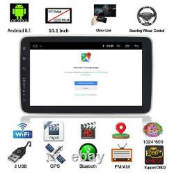 Rotatable 10.1in 1Din Android 8.1 Car Stereo Radio GPS Sat Nav WIFI MP5 Player