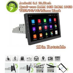 Single Din 10.1 Rotatable Android 8.1 Car Stereo GPS Wifi 3G/4G BT 1080P 1+16GB