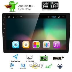 Touchscreen Double Din 10.1 Android 9.0 Car Radio Stereo SatNav DAB+4G WiFi TPMS