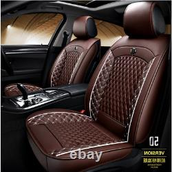 Universal Coffee Leather Full Set 5D Surrounded Car Seat Cover Cushion Protector