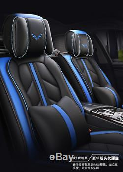 Universal Deluxe Edition Blue PU Leather Front +Rear Car Seat Covers Cushion Set